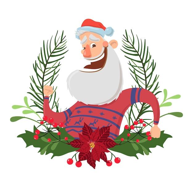 Glücklicher weihnachtsmanncharakter in einem weihnachtskranz. illustration, lokalisiert auf weißem hintergrund. santa im hirschpullover winkt hallo. Premium Vektoren