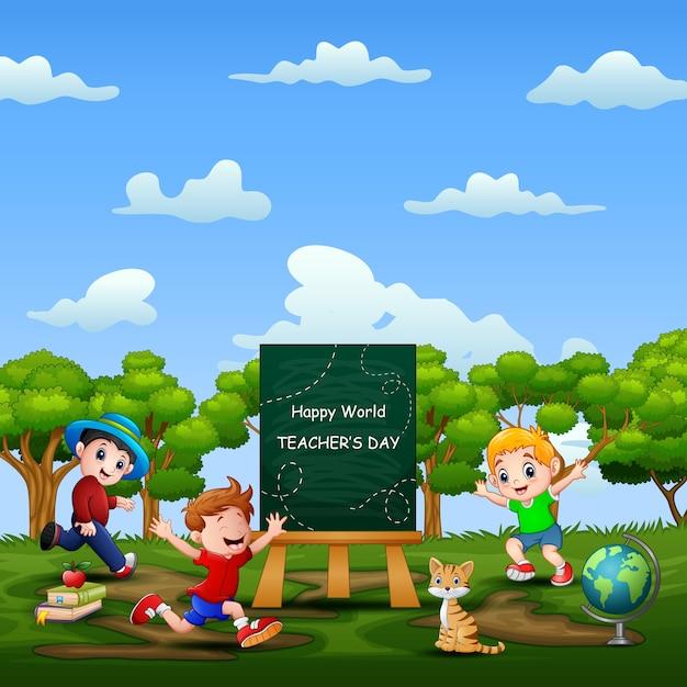 Glücklicher weltlehrertag auf zeichen mit glücklichen spielenden kindern Premium Vektoren