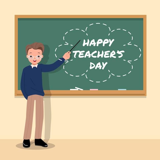 Glücklicher weltlehrertag. männlicher lehrer in einem klassenzimmer, das auf kreidetafel zeigt. dankbarkeit. danke lehrer. schule . Premium Vektoren