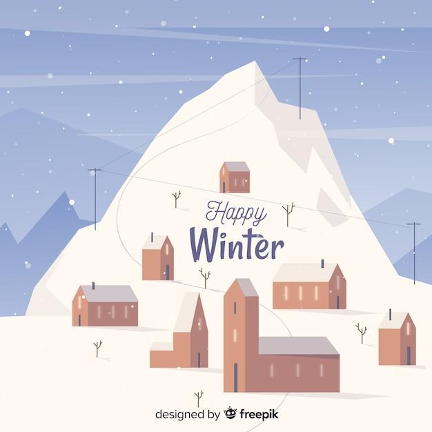 Glücklicher winterlandschaftshintergrund Kostenlosen Vektoren