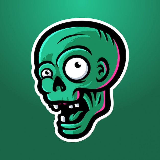Glücklicher zombiekopf Premium Vektoren