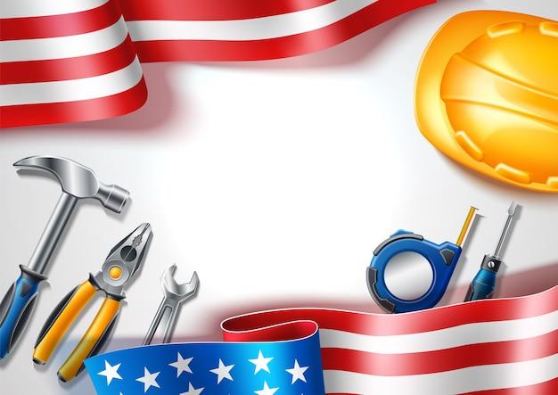 Glückliches arbeitstagplakat für nationalen usa-feiertag mit realistischen industriellen werkzeugen auf hintergrund der usa-flagge. maßband, silberschlüssel, schraubendreher und schutzhut. Premium Vektoren