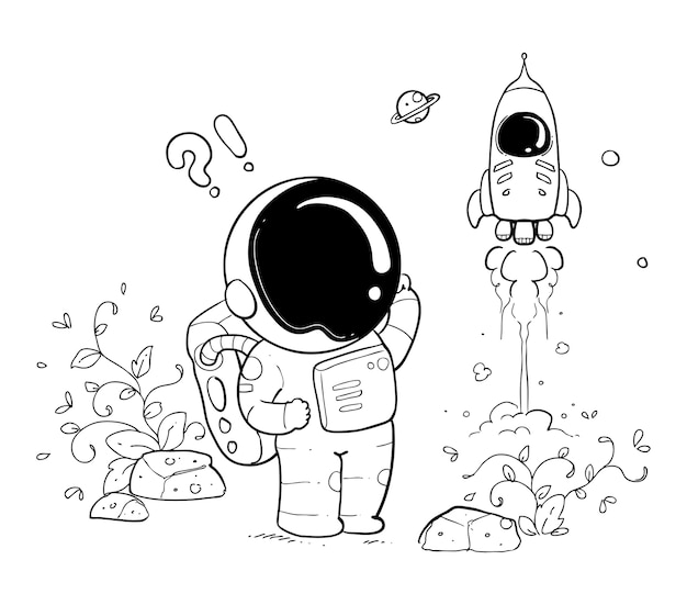 Glückliches astronautenkritzel Premium Vektoren
