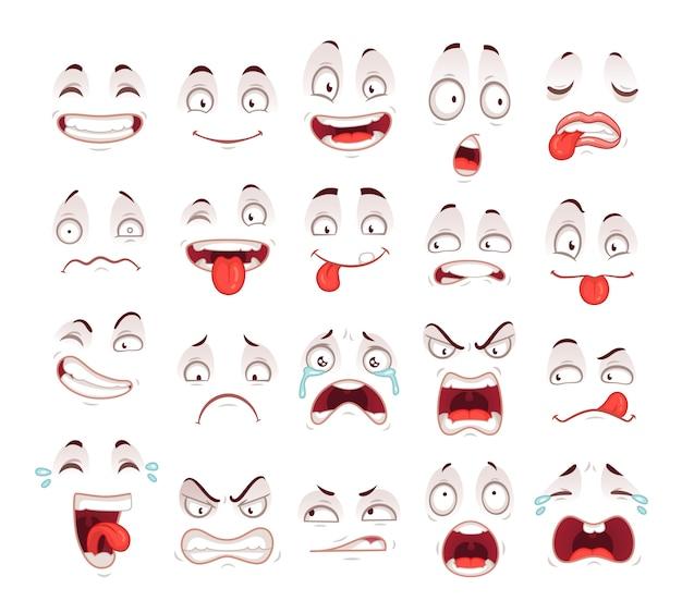 Glückliches aufgeregtes lächeln, das unglücklichen traurigen schreimund und verrücktes krankes erschrockenes gesichtsausdruck-charaktersymbol lacht Premium Vektoren