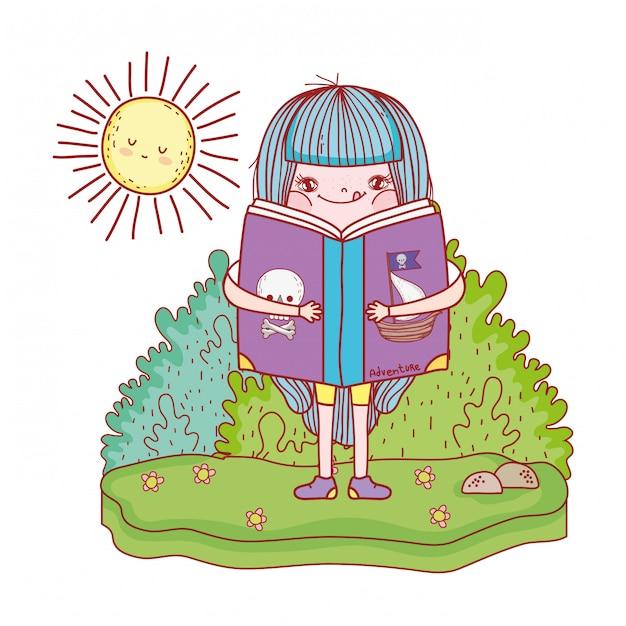 Glückliches buch des kleinen mädchens lese mit sonne kawaii Premium Vektoren