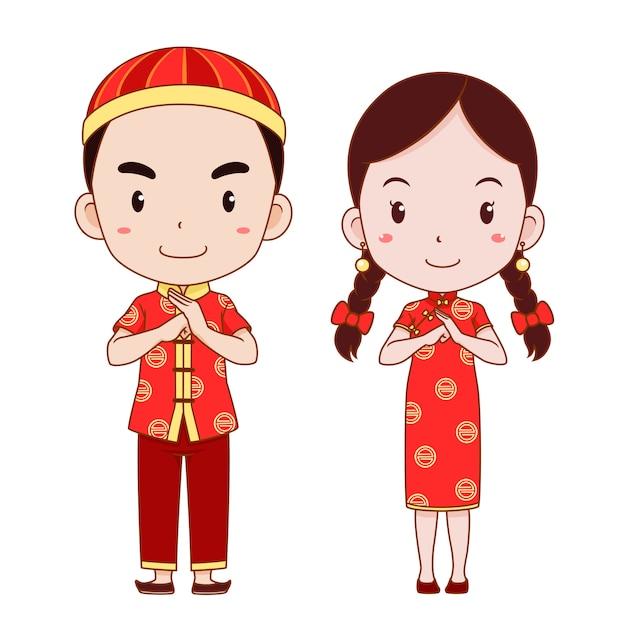 Glückliches chinesisches neues jahr mit netter paarkarikatur im chinesischen traditionellen kostüm. Premium Vektoren