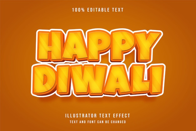 Glückliches diwali, 3d bearbeitbarer texteffekt gelbe abstufung orange comic-schatten-textstil Premium Vektoren