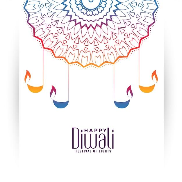 Glückliches diwali dekorative bunte abbildung mit diya Kostenlosen Vektoren