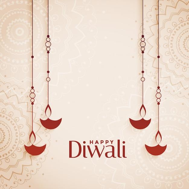 Glückliches diwali eleganter diya hintergrund mit textplatz Kostenlosen Vektoren