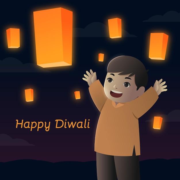 Glückliches diwali-ereignis mit kinderflachdesign Kostenlosen Vektoren