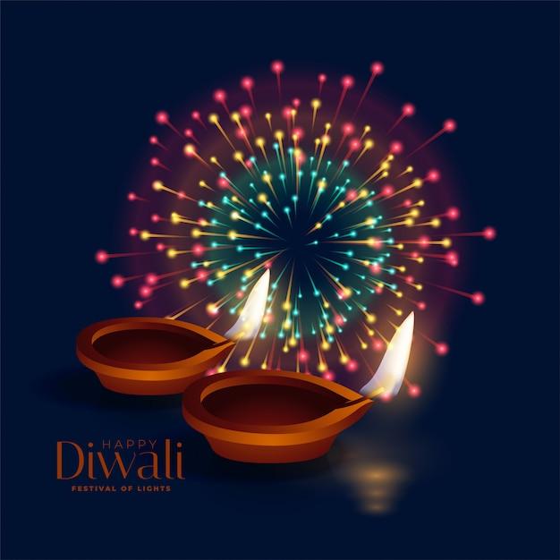 Glückliches diwali feierfeuerwerk mit diya lampe Kostenlosen Vektoren