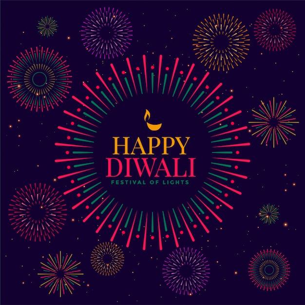 Glückliches diwali feierfeuerwerks-illustrationsfestival Kostenlosen Vektoren