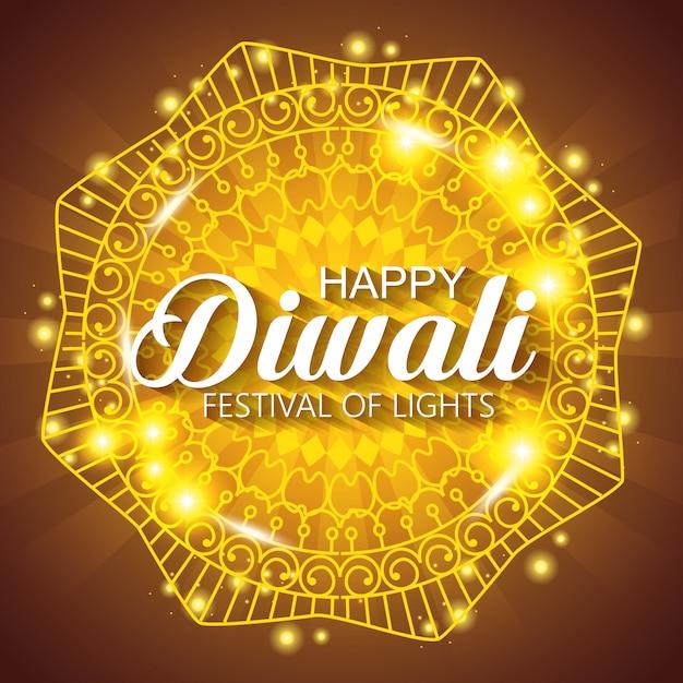 Glückliches diwali-festival von lichtern mit glänzender mandala Kostenlosen Vektoren