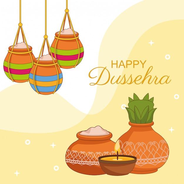 Glückliches dussehra festival von indien Premium Vektoren