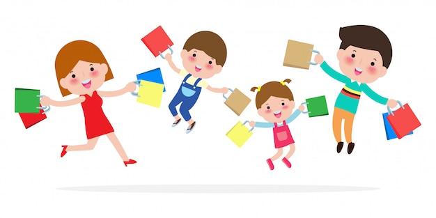 Glückliches familieneinkaufen, eltern und kinder, die mit paket, großer verkauf springen. kauf von waren und geschenken. einkaufen . illustration Premium Vektoren