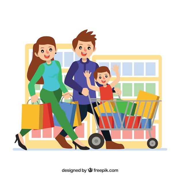 Glückliches familieneinkaufen mit flachem design Kostenlosen Vektoren