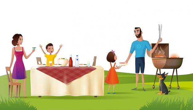Glückliches familienpicknick auf grünem darlehens-karikatur-vektor Premium Vektoren