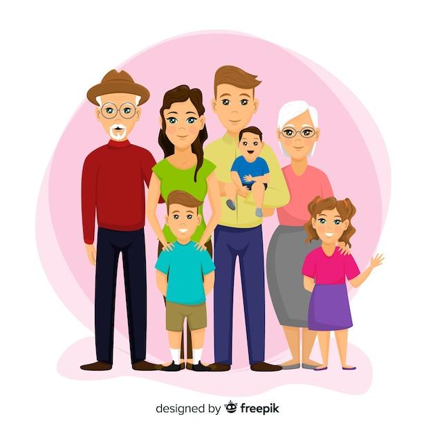 Glückliches familienportrait, vectorized charakterdesign Kostenlosen Vektoren