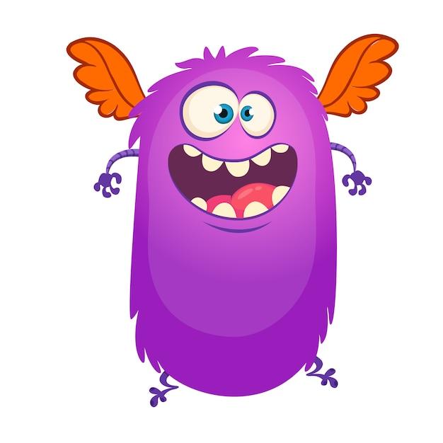 Glückliches fliegendes karikaturmonster. vektorabbildung für halloween Premium Vektoren