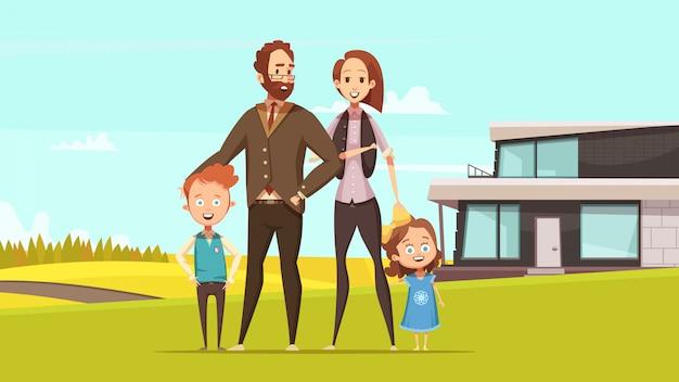Glückliches freundliches familienkonzept des entwurfes mit den jungen eltern und kleinem jungen und mädchen, die auf rasen an der flachen vektorillustration des landschaftshintergrundes stehen Kostenlosen Vektoren