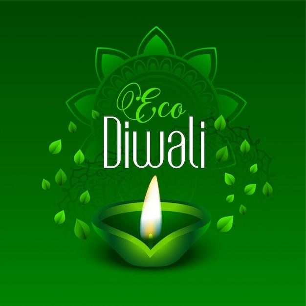 Glückliches grünes eco diwali lässt illustration Kostenlosen Vektoren