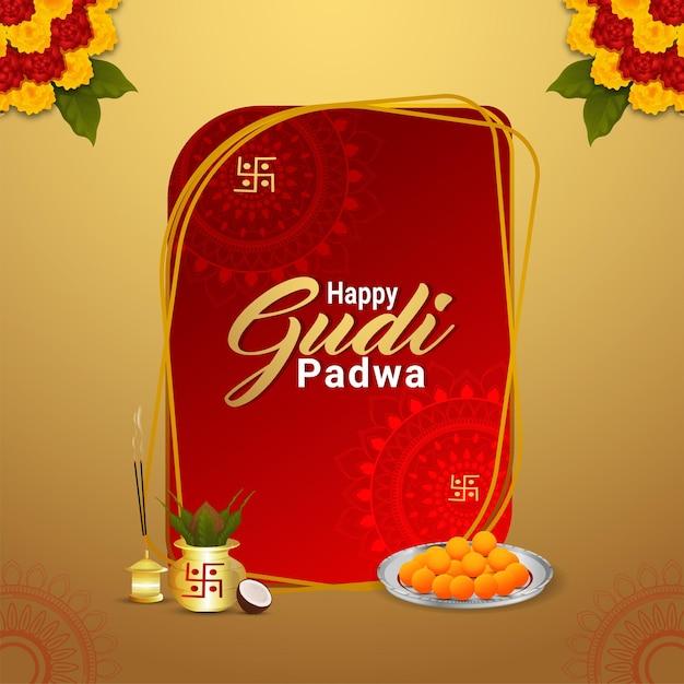 Glückliches gudi padwa designkonzept mit realistischem kalash und süßigkeiten Premium Vektoren