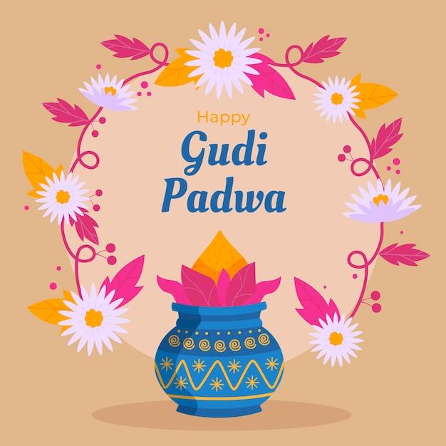 Glückliches gudi padwa-fest des flachen designs Kostenlosen Vektoren
