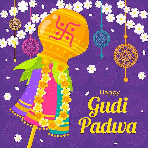 Glückliches gudi padwa-konzept des flachen designs Kostenlosen Vektoren
