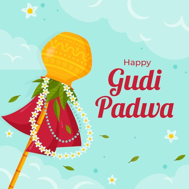 Glückliches gudi padwa-thema des flachen designs Kostenlosen Vektoren