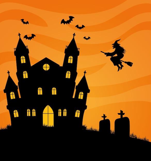 Glückliches halloween-banner mit heimgesuchtem schloss, fledermäusen und hexenfliegen Premium Vektoren