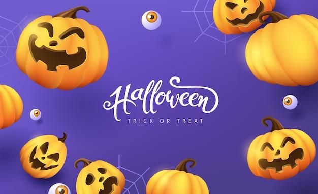 Glückliches halloween-banner oder partyeinladungshintergrund Premium Vektoren
