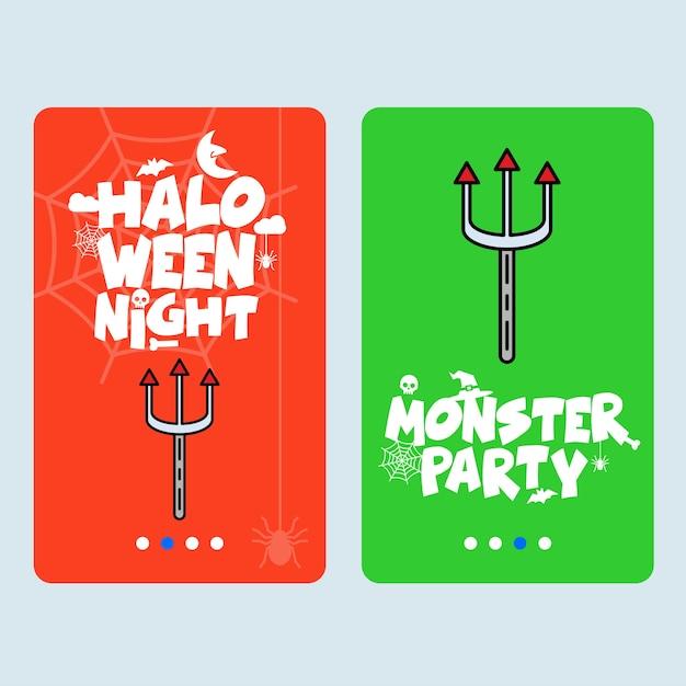 Glückliches halloween-einladungsdesign mit dreizackvektor Kostenlosen Vektoren