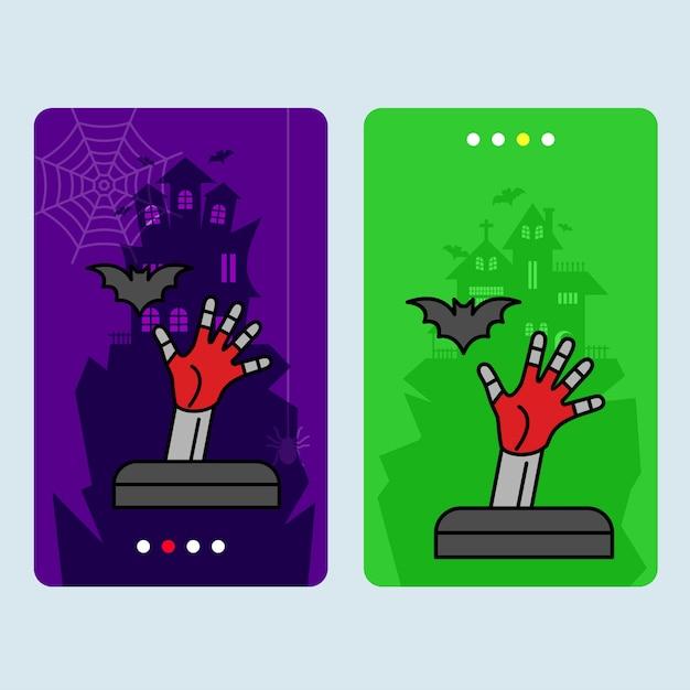 Glückliches halloween-einladungsdesign mit ernstem vektor Kostenlosen Vektoren