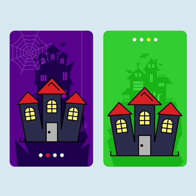 Glückliches halloween-einladungsdesign mit gejagtem hausvektor Kostenlosen Vektoren