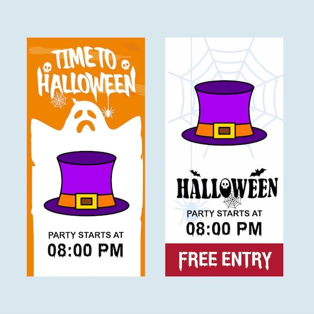 Glückliches halloween-einladungsdesign mit hutvektor Kostenlosen Vektoren