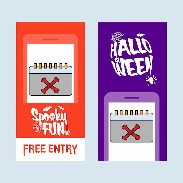Glückliches halloween-einladungsdesign mit kalendervektor Premium Vektoren