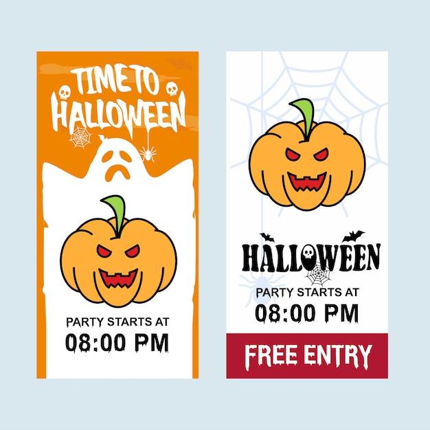 Glückliches halloween-einladungsdesign mit kürbisvektor Kostenlosen Vektoren