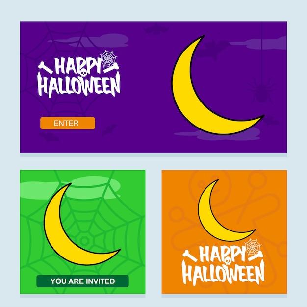 Glückliches halloween-einladungsdesign mit mondvektor Kostenlosen Vektoren
