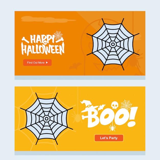 Glückliches halloween-einladungsdesign mit spinnenvektor Kostenlosen Vektoren