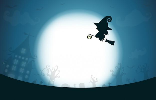 Glückliches halloween, hexenschattenbild auf dem mond, themadesignhintergrund Premium Vektoren