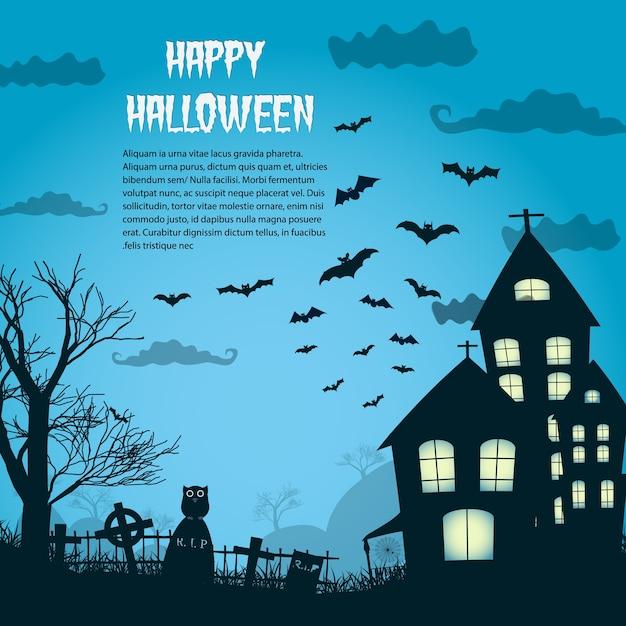 Glückliches halloween-nachtplakat mit schattenbild des schlosses nahe friedhof und fliegende fledermäuse flach Kostenlosen Vektoren
