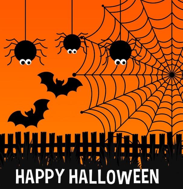 Glückliches halloween-plakat mit spinnen und netz Kostenlosen Vektoren