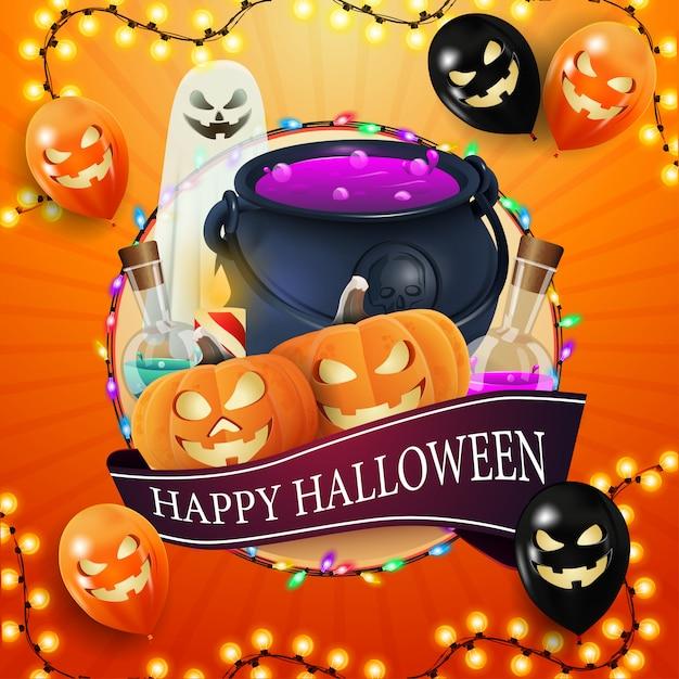 Glückliches halloween, quadratische orange postkarte mit großem kreis, girlande, halloween-ballons, geist, hexenkessel und kürbis jack Premium Vektoren