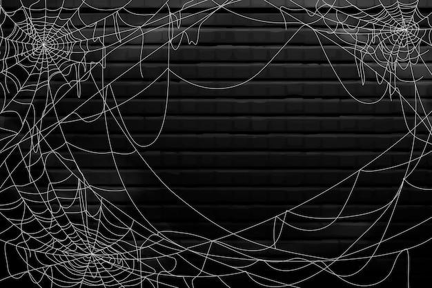 Glückliches halloween-spinnennetz-hintergrunddesign Kostenlosen Vektoren