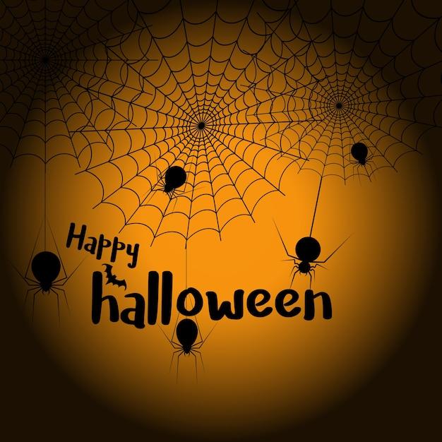 Glückliches halloween-spinnennetz und -spinnen für grußkarte Premium Vektoren