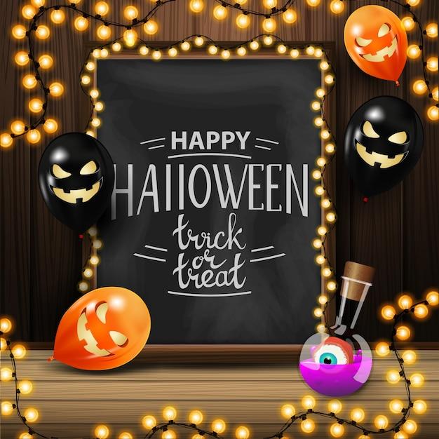 Glückliches halloween, süßes sonst gibt's saures, quadratische grußkarte mit tafel mit schöner beschriftung und halloween-ballone Premium Vektoren