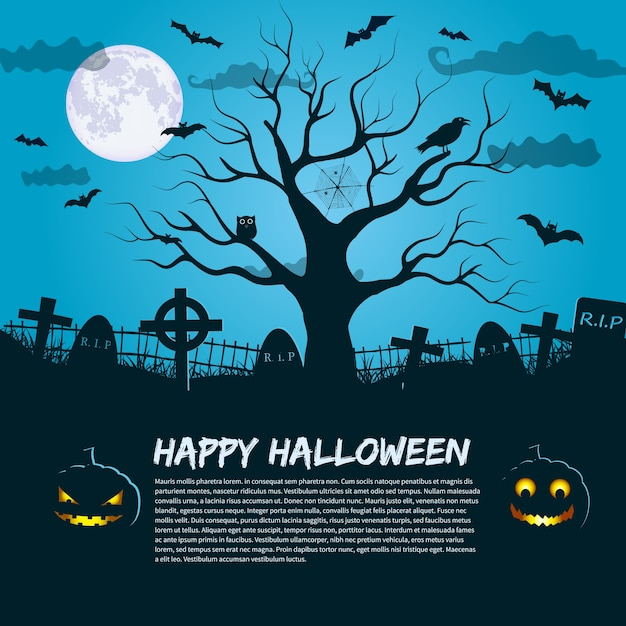 Glückliches halloweenplakat mit schattenbild des toten baumes am mondnachthimmel und platz für einladungstext flach Kostenlosen Vektoren
