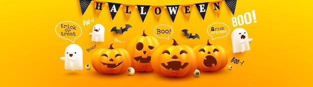 Glückliches halloweenplakat und fahnenschablone mit niedlichem halloween-kürbis Premium Vektoren