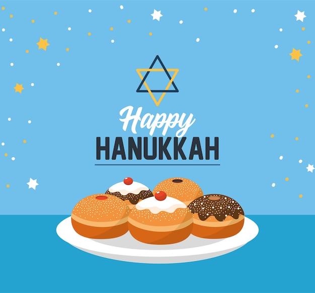 Glückliches hanukkah mit süßem brot und david-stern Premium Vektoren