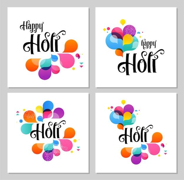 Glückliches holi, indisches feiertags- und festplakat, fahne, bunte vektorillustration Premium Vektoren
